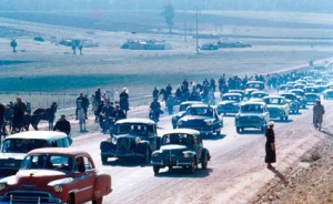 Cars preceding the arrival of King Muhammed 5
