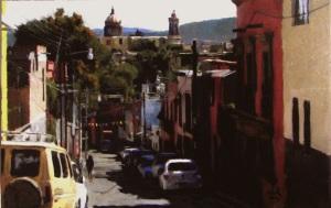San Miguel de Allende  Street Scene with Church
