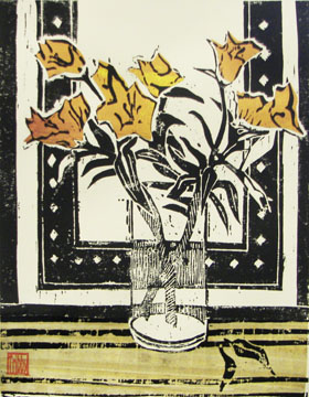 Glass with Orange Lilies