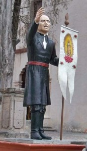 Father Hidalgo with the banner of the Virgen of Guadalupe