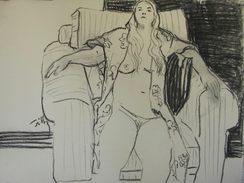 Figure seated in large chair, charcoal