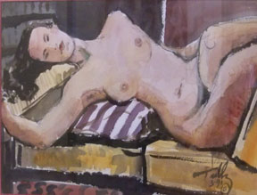 Reclining nude, watercolor