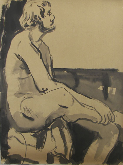 Seated Male Nude, ink