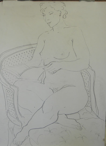 Seated Nude, line drawing