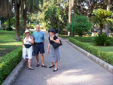 Beverly, Steve and Jeanette in the English Garden -- Palermo