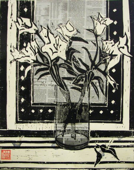 Glass with White Lilies