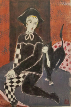 Harlequin with Cat