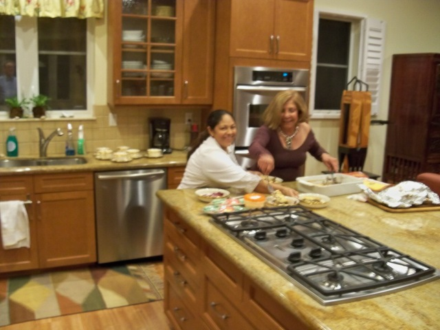 Lillian and Jeanette plating Lasagna