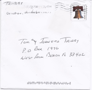 Envelope that had been held at the post office