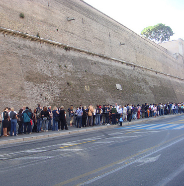 People in line to enter the Vatican Museum