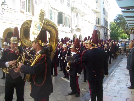 Corfu band preparing to march