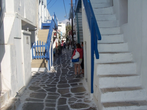 Mykonos  White washed with blue accents