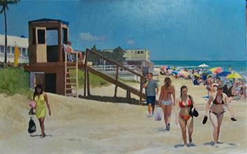 """Beach Parade Oil on Canvas    30"""" x 48"""""""