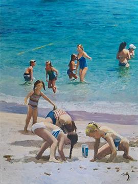 """Beach Time Oil on Canvas      48"""" x 36"""""""