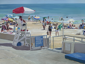 "Lifeguard on Duty     Oil on Canvas          36"" x 48"""