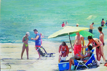 "A Day at the Beach       oil on canvas            40"" x 60"""