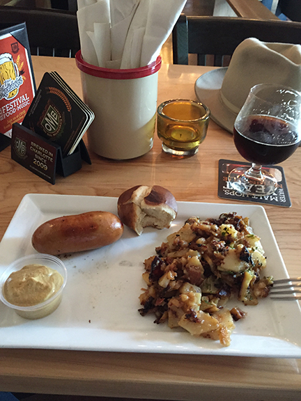 German Potato Salad, Knockwurst and Dark Beer