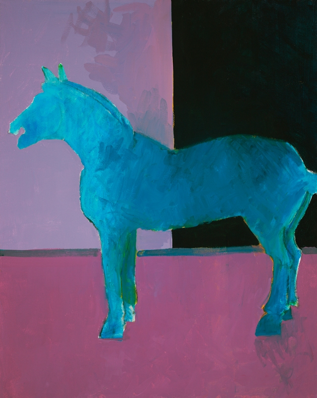 Horse blue on lavender